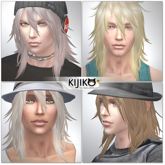 Shaggy Hair (long hair version) TS4 edition (for Male) by Kijiko