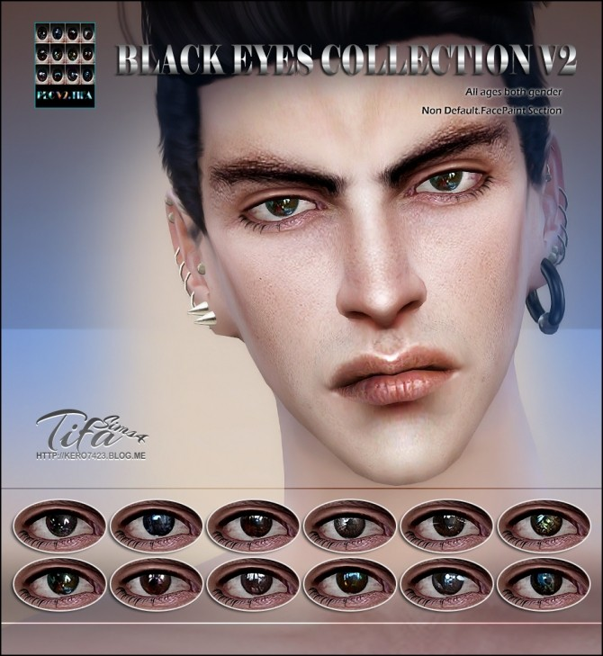 Tifa Sims  Eyes : Black eyes collection V2