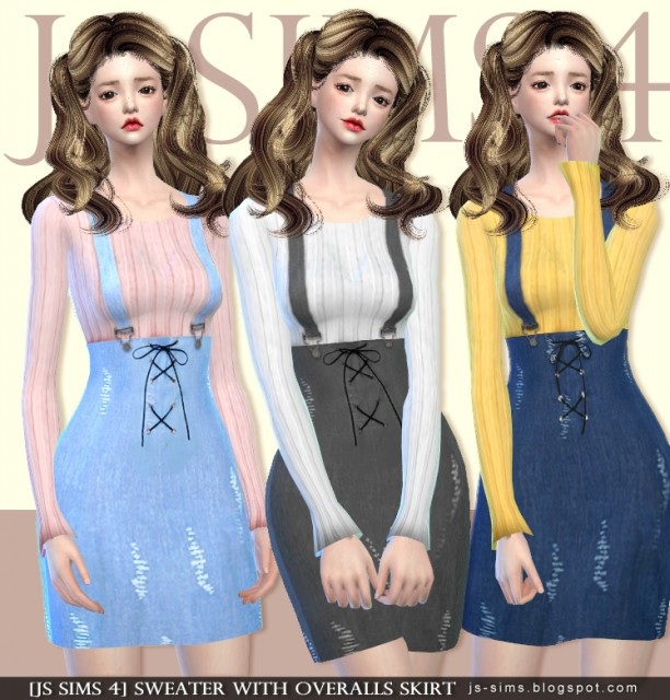 SWEATER WITH OVERALLS SKIRT by JS SIMS 4