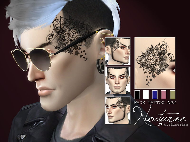 Face Tattoo NOCTURNE  N02 BY Pralinesim