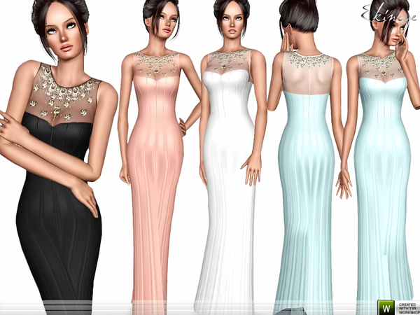 Jewel Neck Long Dress by ekinege