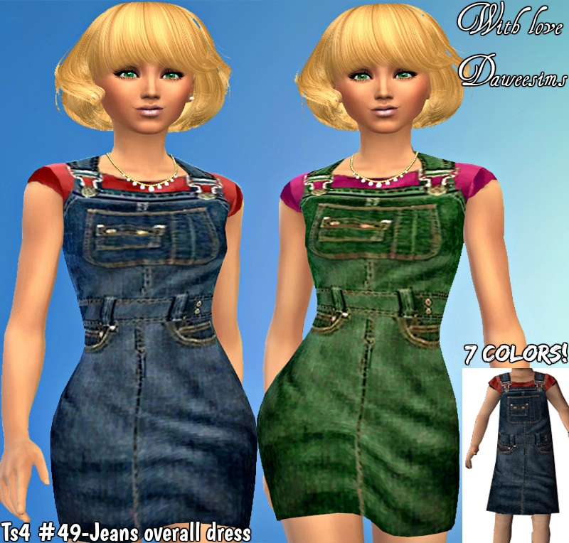 Ts4 #49-Jeans overall dress by Daweesims