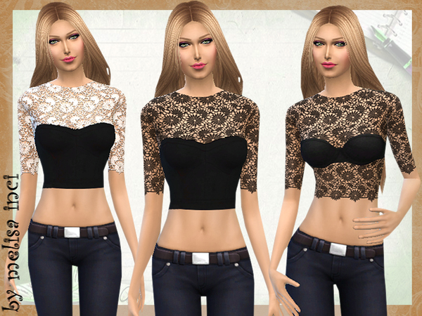 Black Full Lace Tops by melisa inci