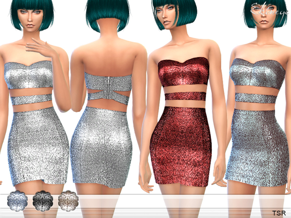 Metallic Two Piece Cut Out Dress by ekinege