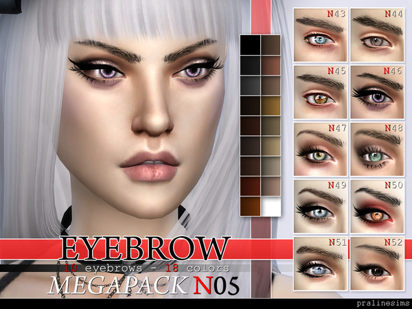 Eyebrow Megapack 5.0 ~ 10 Eyebrows by Pralinesims