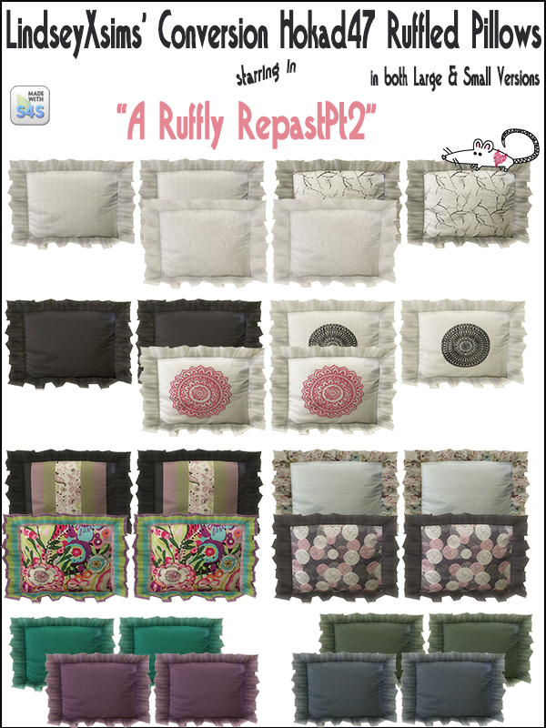 Ruffled Pillows Recolors by LoveratSims4