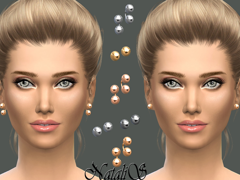 NataliS_Metal balls stud earrings set
