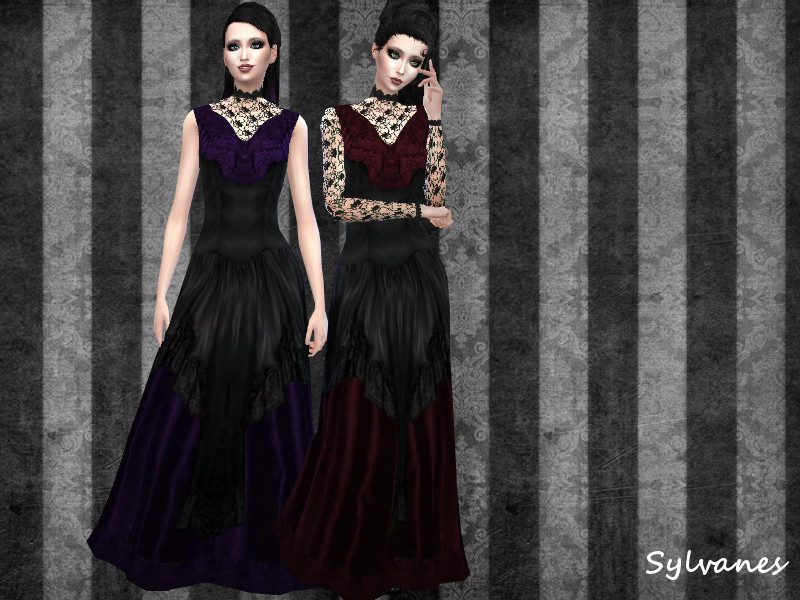 Gothic lace gown_2versions_T.D. BY Sylvanes