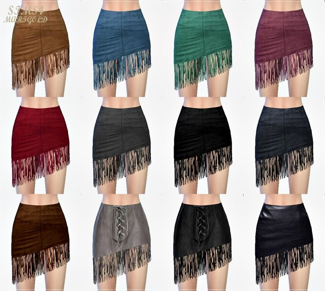 Fringe asymmetry mini skirt by marigold