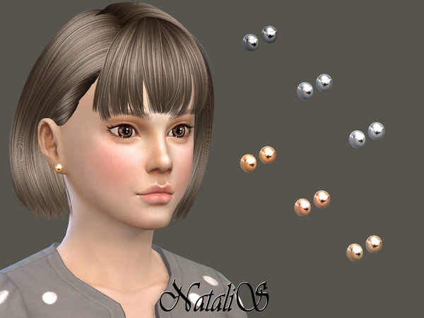 NataliS_Child Metal ball stud earrings