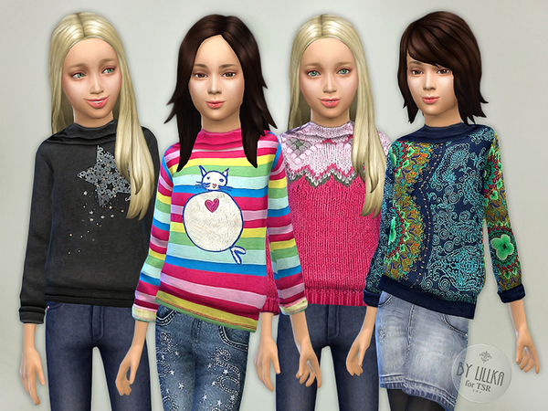 Printed Sweatshirt for Girls P07 by lillka