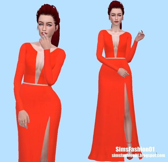 Orange Dress by SimsFashion01