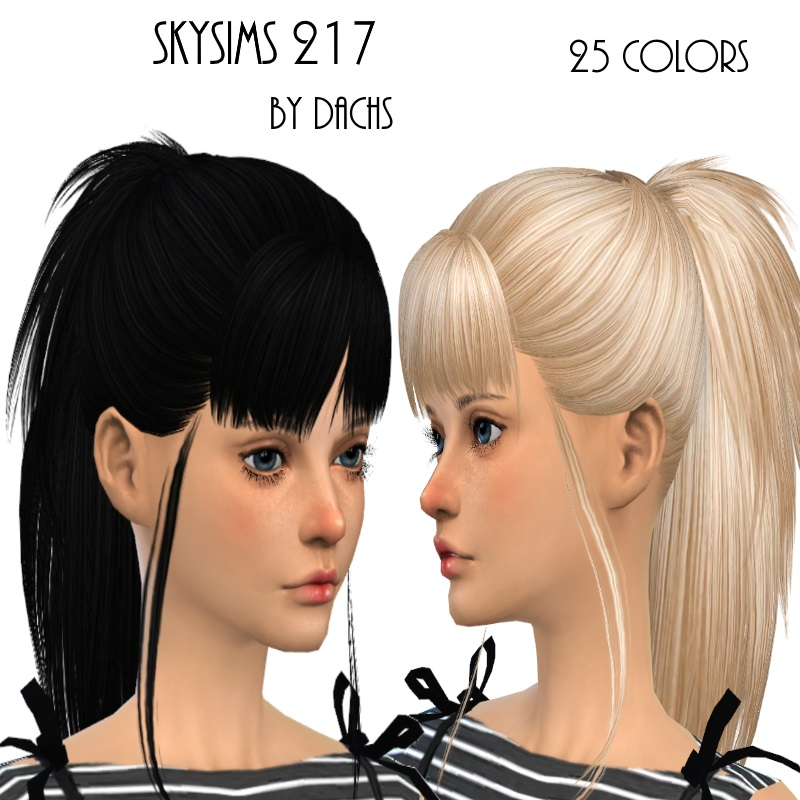 SkySims 217 Hair for Females Fixed and in 27 Colors by Dachs