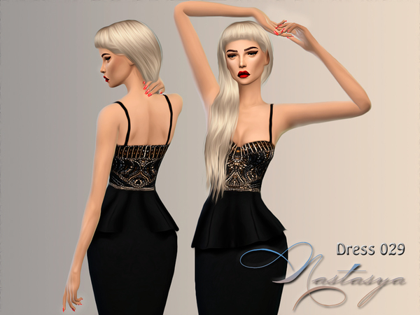 Dress Sleeveless Beaded Peplum 029 by Nastas'ya