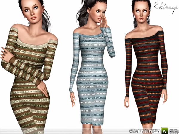 Off The Shoulder Knit Dress by ekinege