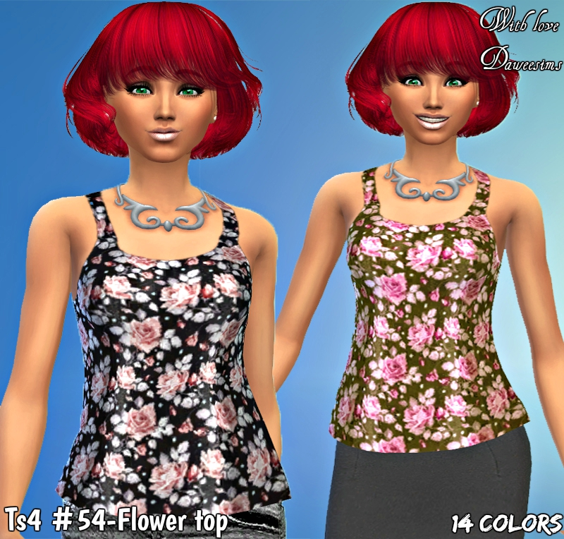 Ts4 #54-Flower top by Daweesims