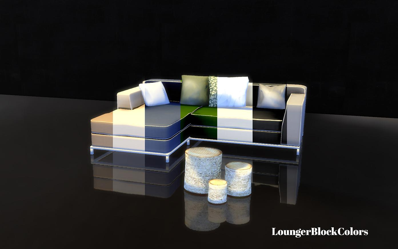 Lounger, Pillows and Stump Tables by Sim-o-matic