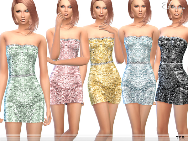 Strapless Sequin Mini Dress by ekinege