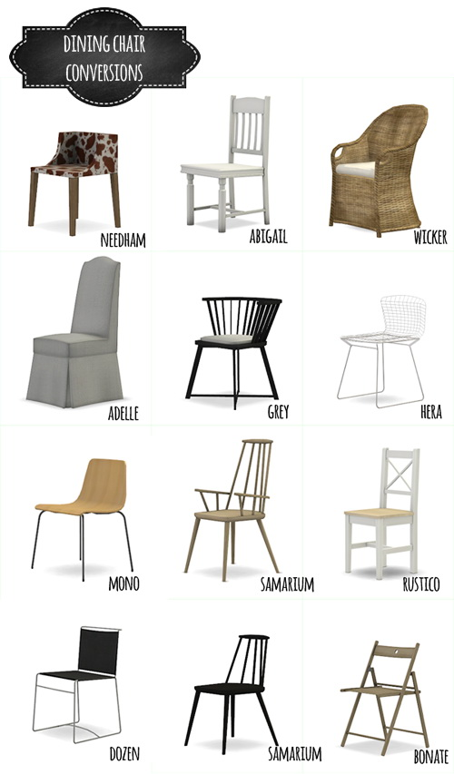 DINING CHAIR CONVERSIONS By MIO