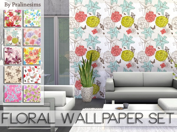 Floral Wallpaper Set by Pralinesims