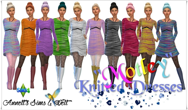 MOTLEY KNITTED DRESSES By  ANNETTS SIMS 4 WELT