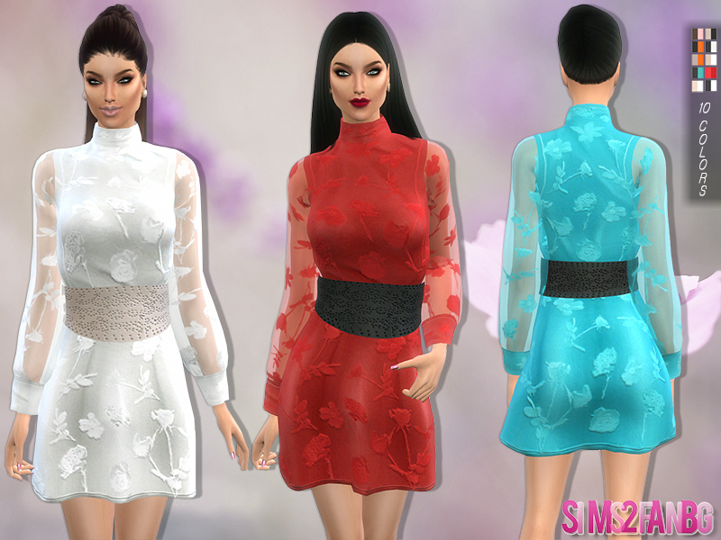 109 - Dress with belt and transparent sleeves   BY sims2fanbg
