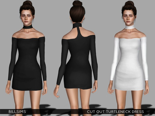 Cut Out Turtleneck Dress by Bill Sims
