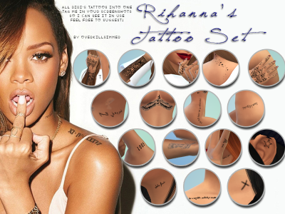 Rihanna Tattoos Set by OverkillSimmer