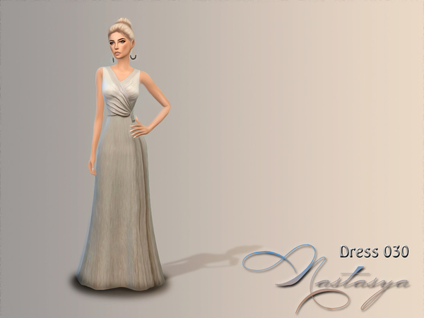 Dress Metallic V Neck Maxi 030 by Nastas'ya