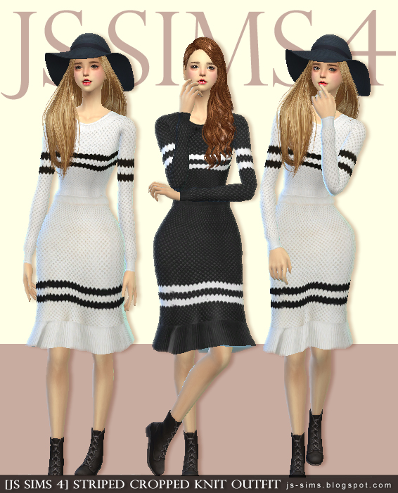 Striped Knit Dress by JS Sims 4
