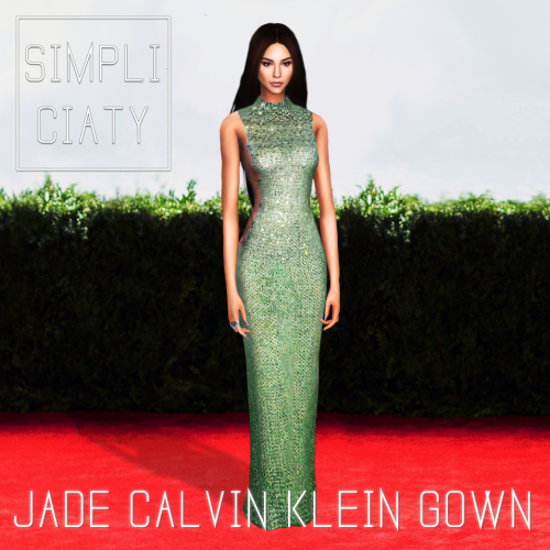 Jade Calvin Klein Gown by Simpliciaty