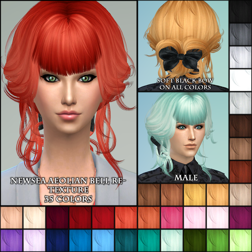 Newsea Hair Retexture in 35 Colors by MaheshaSims