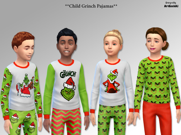 Child Holiday Pajama Top & Pant Set 2 (Grinch) by ArtGeekAJ