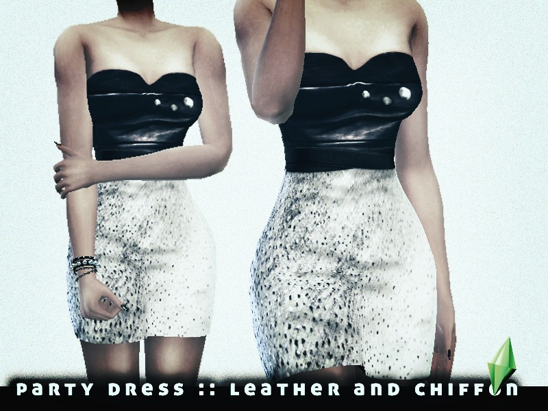 Party Dress Leather & Chiffon BY L'Rimshard