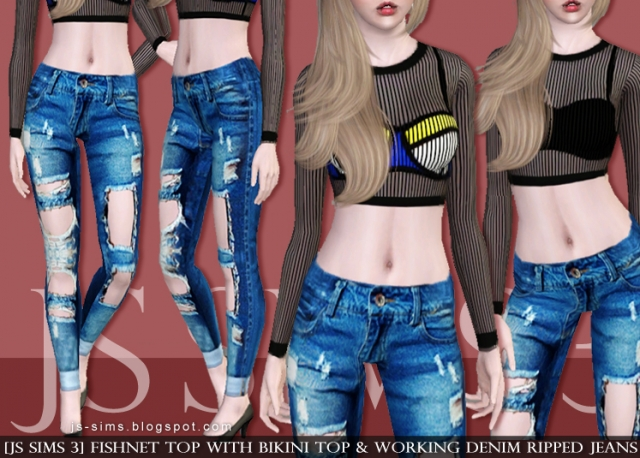 Fishnet Top With Bikini Top & Working Denim Ripped Jeans by JS SIMS