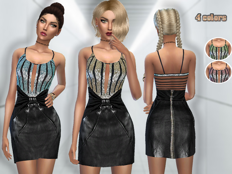 Sequin & Leather Dress    BY Puresim