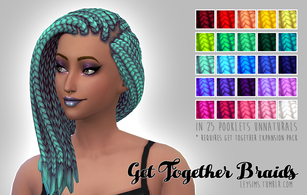 Get Together Braids Recolors by LeySims