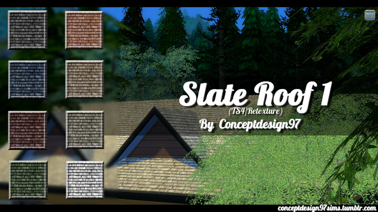 Slate Roof in 8 Colors by Conceptdesign97sims