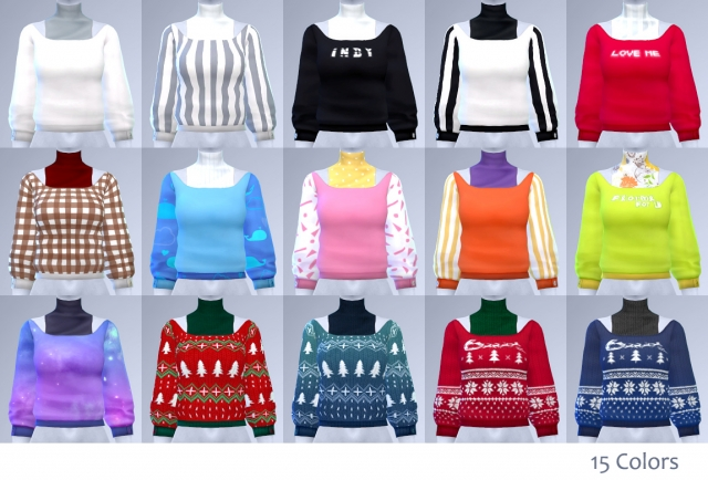 Sweaters in 15 Colors for Females by Manueapinny
