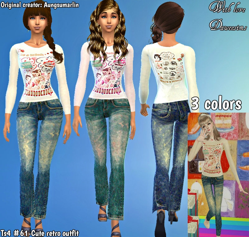 Ts4 #61-Cute retro outfit by Daweesims