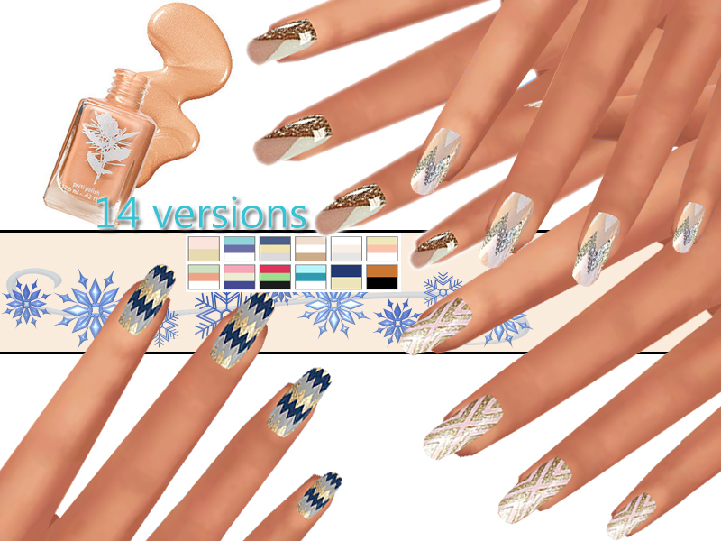 PZC_Winter Aztec Nails Pack   BY Pinkzombiecupcakes