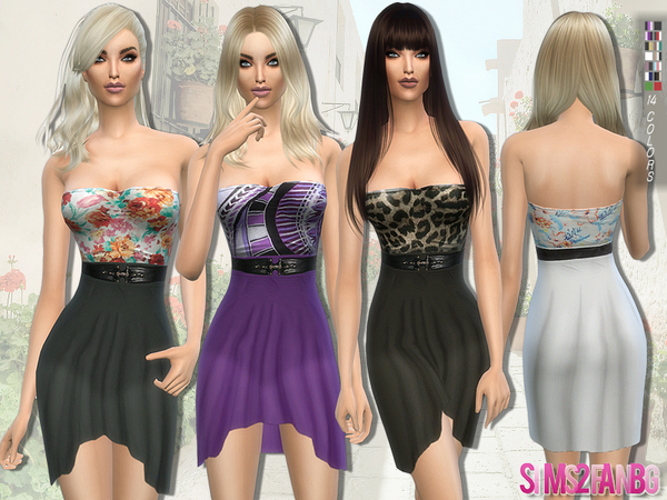 114 - Waterfall dress with belt by sims2fanbg