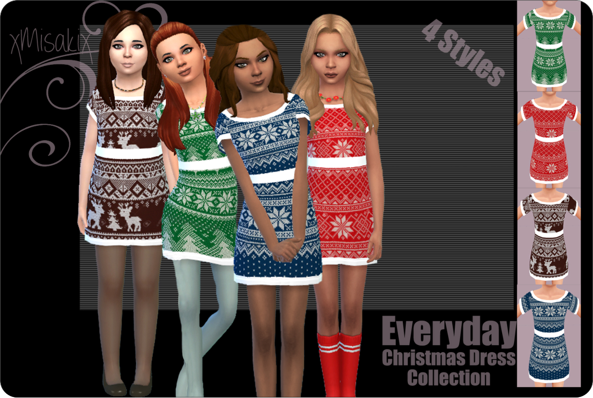 xmisakixsims  Christmas DressCollection for Girls