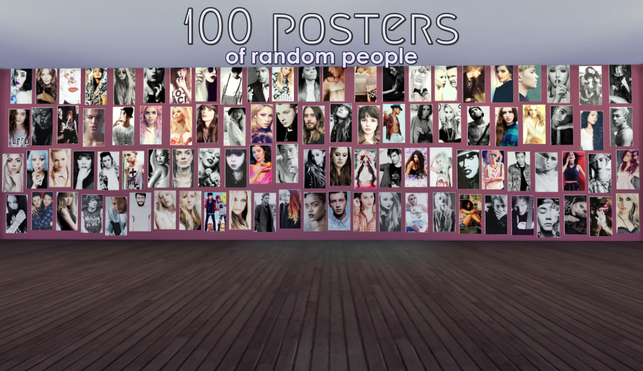 100 posters of random people by jell-o-sims