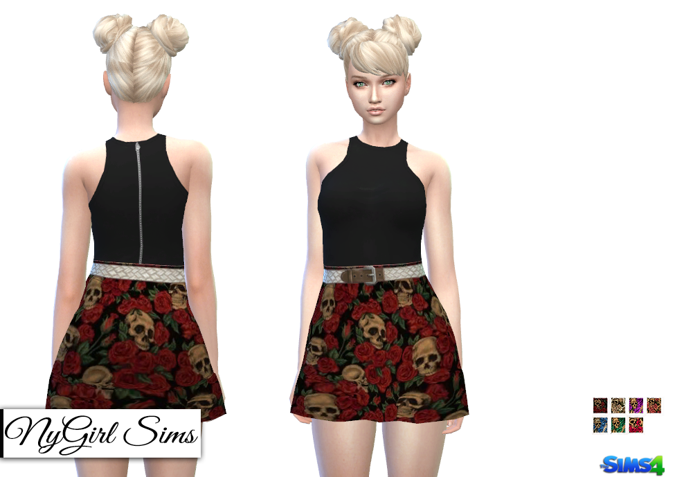 Skull and Roses Racerback Dress by NyGirl