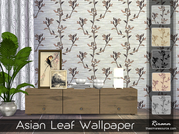 Asian Leaf Wallpaper by Rirann