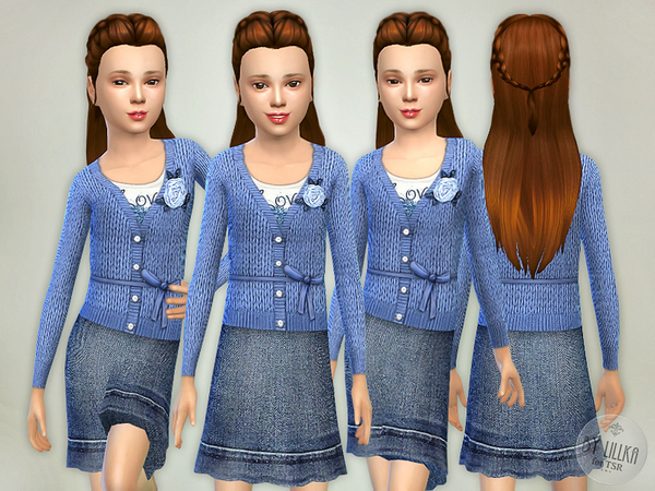 Blue Wool Sweater with Denim Skirt by lillka