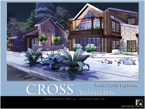 Luxury Family Log House by Pralinesims