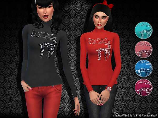 Reindeer Rhinestone Bling Turtleneck Tee Shirt by Harmonia