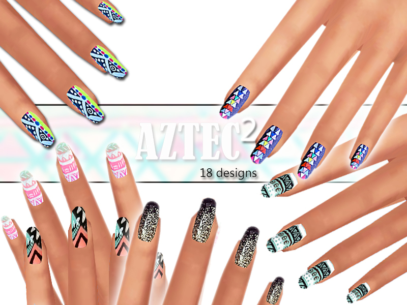 Winter Aztec Nails Pack 02 BY Pinkzombiecupcakes